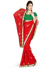 Red Color Chiffon Casual Occasion Sarees : Prashabdi Collection  YF-41527
