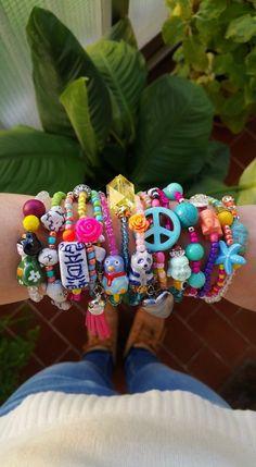 Boho Chic Bracelets - stretch bracelets - layered jewelry - bohemian bracelet - unique jewelry - one of a kind - peace sign - christmas gift