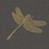 Dragonfly by Albany - Black / Gold - Wallpaper : Wallpaper Direct