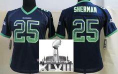 335be6aa5 Women Nike Seattle Seahawks 25 Richard Sherman Blue Elite Drift Fashion 2014  Super Bowl XLVIII NFL Jerseys