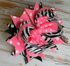 Girls hair bows Zebra Hot Pink, Boutique Hair Bows, Stacked Hair Bows, Big hair bows