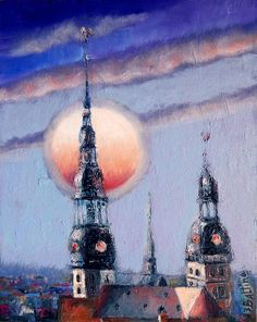 Старая Рига. Шпили, автор Jevgenija Baltina. Riga Latvia, Empire State Building, Gouache, Architecture Design, Modern Art, Unicorn, Dreams, Painting, Architecture Layout