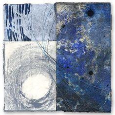 "David Owen Hastings  Sora (sky) II  |  monotype, photoprint, collage, stitching on paper, 12"" x 12"", 2008"
