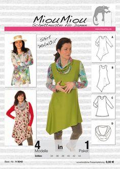 """*Shirt/ Tunika* """"Manou"""" ist ein feminines, sehr vielseitig einsetzbares Schnittmuster, Sommer wie Winter mit den entsprechenden Materialien zu verarbeiten. Alle abgebildeten Varianten sind im..."""