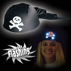Light Up Hat - Skull Cap - Skull and Cross Bones