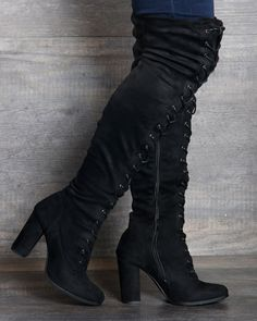 e1bcfee5511 Black Front Lace Up Panel Detailing Thigh High Single Sole Chunky ...