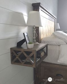 perfect for our bed frame with drawers / Floating Night Stand, Unique Bedroom Furniture, Diy Furniture, Furniture Design, Diy Nightstand, Floating Nightstand, Bedside Tables, Unique Nightstands, Floating Bed Frame, Floating Wall