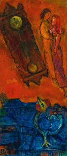 Marc Chagall. Clock in the flaring sky (PENDULE AU CIEL EMBRASE). 1947