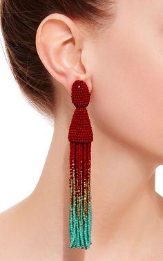 Ombre Long Beaded Clip Tassel Earring by OSCAR DE LA RENTA Now Available on Moda Operandi