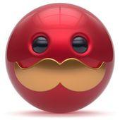 Cartoon mustache face cute emoticon ball happy stylish icon — Stock Photo #101190820