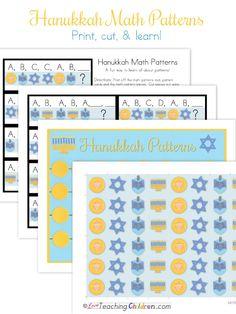 Hanukkah Math Patterns perfect for Pre-k, Kindergarten, and First grade.