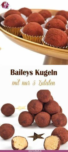 Einfache Baileys Kugeln, aus nur 5 Zutaten With only 5 ingredients you conjure up these delicious Baileys balls. Whether at Christmas, Easter or Mother's Day. The balls are always a great gift idea. Sweet Recipes, Cake Recipes, Dessert Recipes, Cupcakes, Cake Cookies, Food Cakes, 5 Ingredient Desserts, Dessert Halloween, Food Blogs