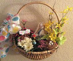 Easter bunny hanging basket wreath,  Easter wall and door decor, Easter floral arrangement, Easter home decor,  spring Easter basket by StylishDecorbyGClark on Etsy