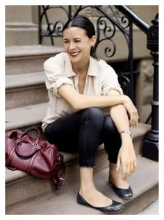 Garance Dore - so effortlessly chic & check out THAT BAG.