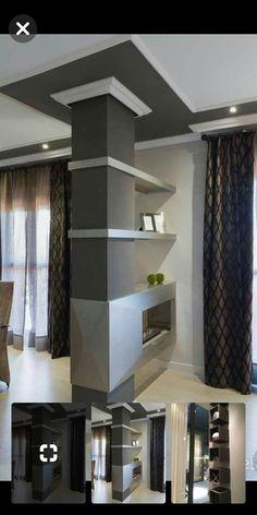 Home Garden Design, Home Interior Design, Interior Decorating, House Design, Columns Decor, Interior Columns, Corridor Design, Room Partition Designs, Small Living Rooms