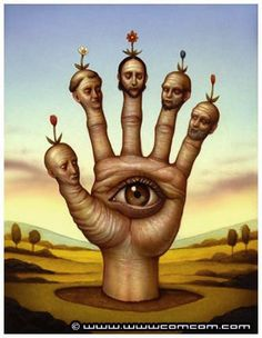 Made by: Naoto Hattori - (Eye in hand) Surrealism Painting, Pop Surrealism, Arte Lowbrow, Pop Art, Art Optical, Arte Horror, Weird Art, Realism Art, Japanese Artists