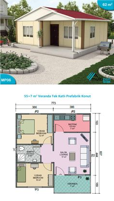 MP6 - 55 Square Meters + 7 Square Meters  Lounge 17m2 Kitchen 7m2 Bedroom 1 12m2 Bedroom 2 10m2 Bathroom 5 m2 Veranda 7m2 3d House Plans, 2 Bedroom House Plans, House Blueprints, Dream House Plans, Modern House Plans, Small House Plans, House Floor Design, Simple House Design, Bungalow House Design