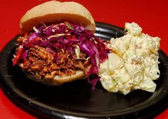 Honey Chipotle Pulled Pork Sandwich with Red Cabbage Slaw and Bacon Potato Salad - photo courtesy of Raffi Mouradian