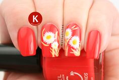 Freehand daisies over an orange-red base