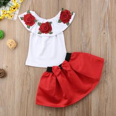Kids Baby Girl Off Shoulder Rose Flower Blouse Top Dress Skirt Outfit Clothes Summer Fashion Suit Skirt Outfits, Dress Skirt, Skirt Set, Street Chic, Cheap Girls Clothes, Sleeveless Outfit, 3d Rose, Girls Summer Outfits, I Love Makeup