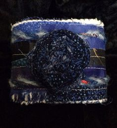 Fabric jewelry  textile blue art cuff bangle by DianasArtQuilts, $16.99