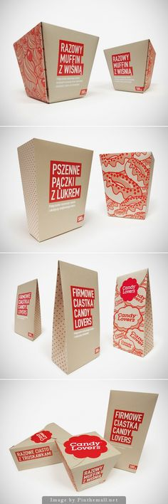 sweet packaging, uses red patterns on white. the red might be showing the young and fun idea of brightness and festivity-eg clowns.