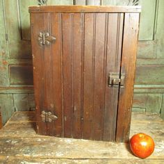 Sweet Old Early Wainscot Wall Cupboard with Old Hardware and Attic Finish $159