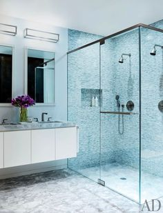 Blue #bathroom #design with glass walk in #shower