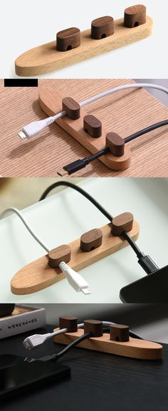 Wooden Cable Organizer Cord Management System Holder for Power Cords and Charging Cables Car Cell Phone Holder, Wooden Phone Holder, Cord Holder, Charger Holder, Cable Organizer, Wooden Organizer, Cord Management, Iphone Phone, Iphone Charger