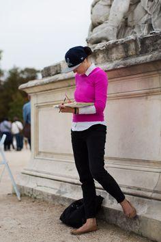 Pink shirt, cap