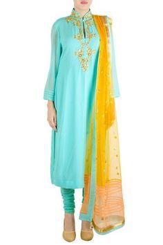 Light Blue Collared Straight Long Kurta With Churidar And Dupatta #georgette #net #lycra #festive #mehendi #roka #full-sleeves #mandarin-collar