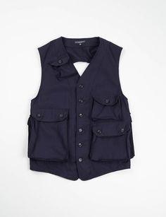 Engineered Garments Navy Uniform Serge C–1 Vest Navy Uniforms, Engineered Garments, Outdoor Outfit, Vest Jacket, Fashion Details, Work Wear, Menswear, Mens Fashion, Vests