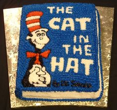 cat in the hat #cake book cover #seuss #party
