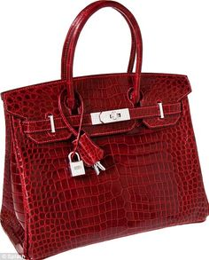 Hermes Exceptional Collection Shiny Rouge H Porosus Crocodile 30cm  Birkin Bag with Solid 18K White Gold & Diamond Hardware Pristine Condition.