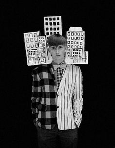 """Geometric and architecture-inspired fashion is the theme of """"Human Building Blocks"""" in the October issue of Dazed & Confused magazine. It was inspired by 1920's Bauhaus performance art. Photography by Ben Toms, styling by Robbie Spencer."""