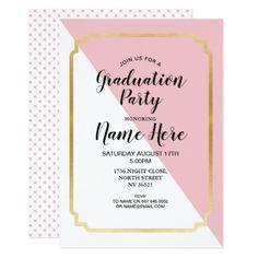 Graduation Party Pretty Invite Pink Gold Elegant - graduation party invitations card cards cyo grad celebration