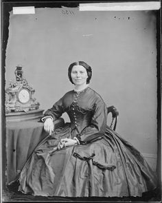 Miss Clara Barton, ca. 1860 - ca. 1865    ARC Identifier 526057 / Local Identifier 111-B-1857    Item from Record Group 111: Records of the Office of the Chief Signal Officer, 1860 - 1985, Library of Congress. |  Clara Barton was the organizer of the American Red Cross.