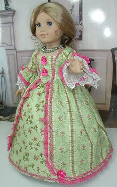 Pink/Green Dress fits 18 inch doll American Girl like Felicity Elizabeth