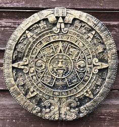 Aztec Mayan Calendar round stone wall plaque Sun stone home or garden ornament Arm Tattoo, Sleeve Tattoos, Stone Art, Sun Stone, Aztec Calendar, Sacred Geometry Tattoo, Aztec Warrior, Aztec Art, Mesoamerican