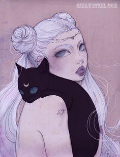 "Poster ""Serenity"" (Illustration, Art, Sailor Moon, Comic, Print, Pop surrealism,fantasy ) by BlackUnicornShop on Etsy https://www.etsy.com/au/listing/288021503/poster-serenity-illustration-art-sailor"