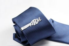 Monogram Tie Clip personalized with initials sterling by FeinFein