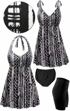 25f87164d92ff Customizable Plus Size Black & White Abstract Print Halter or Shoulder  Strap 2pc Swimsuit/SwimDress 0x 1x 2x 3x 4x 5x 6x 7x 8x 9x