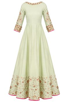 Pista Green Embroidered Anarkali Set available only at Pernia's Pop Up Shop.