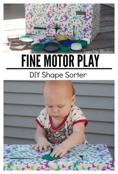 Part of Everyday Fine Motor Materials A to Z Series | This post shares how to make a recycled shape sorter to promote fine motor play.