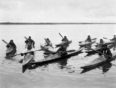 Flottille de kayaks inuits bien pacifiques