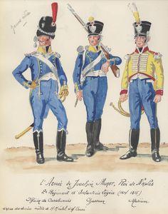 Ufficiale dei Carabinieri, Cacciatore e Musicista del 2 rgt. di fanteria leggera del regno di Napoli di Murat