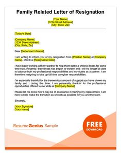Family Related Resignation Letter Template