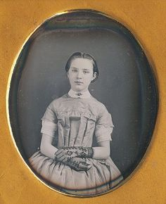 This daguerreotype features a gorgeous young teenage young and tinted lips. She wore beautiful lace gloves and a striped dress with a cloth collar. | eBay!