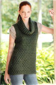 Delicadezas en crochet Gabriela: 38 Prendas tejidas paso a paso Crochet Patterns, Vest, Turtle Neck, Knitting, Sweaters, How To Wear, Women, Ideas, Fashion