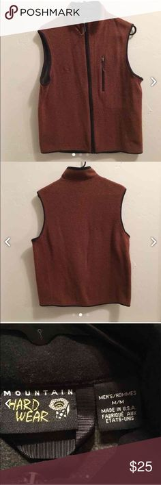 Men's Mountain Hardwear vest This rust colored vest is a wool blend. It does have normal wear and is free of rips, stains or tears. Great for the fall and winter months! Seems to run on the smaller side of a medium. Mountain Hard Wear Jackets & Coats Vests